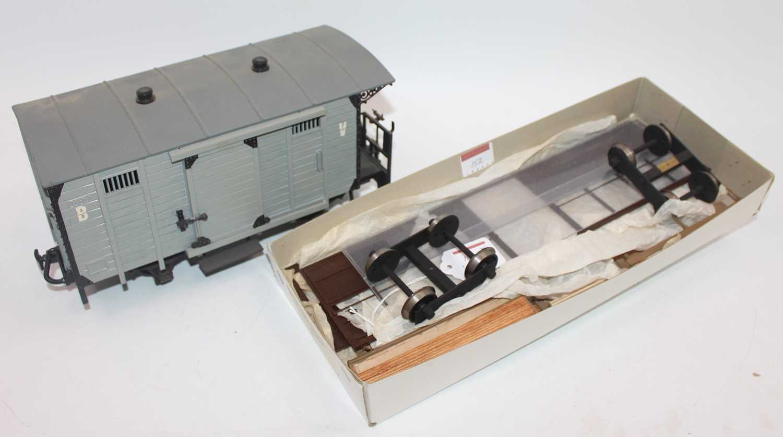 LGB garden railway 4-wheel goods van with balcony (VG) with kit for Corris coach, completeness not - Image 2 of 2