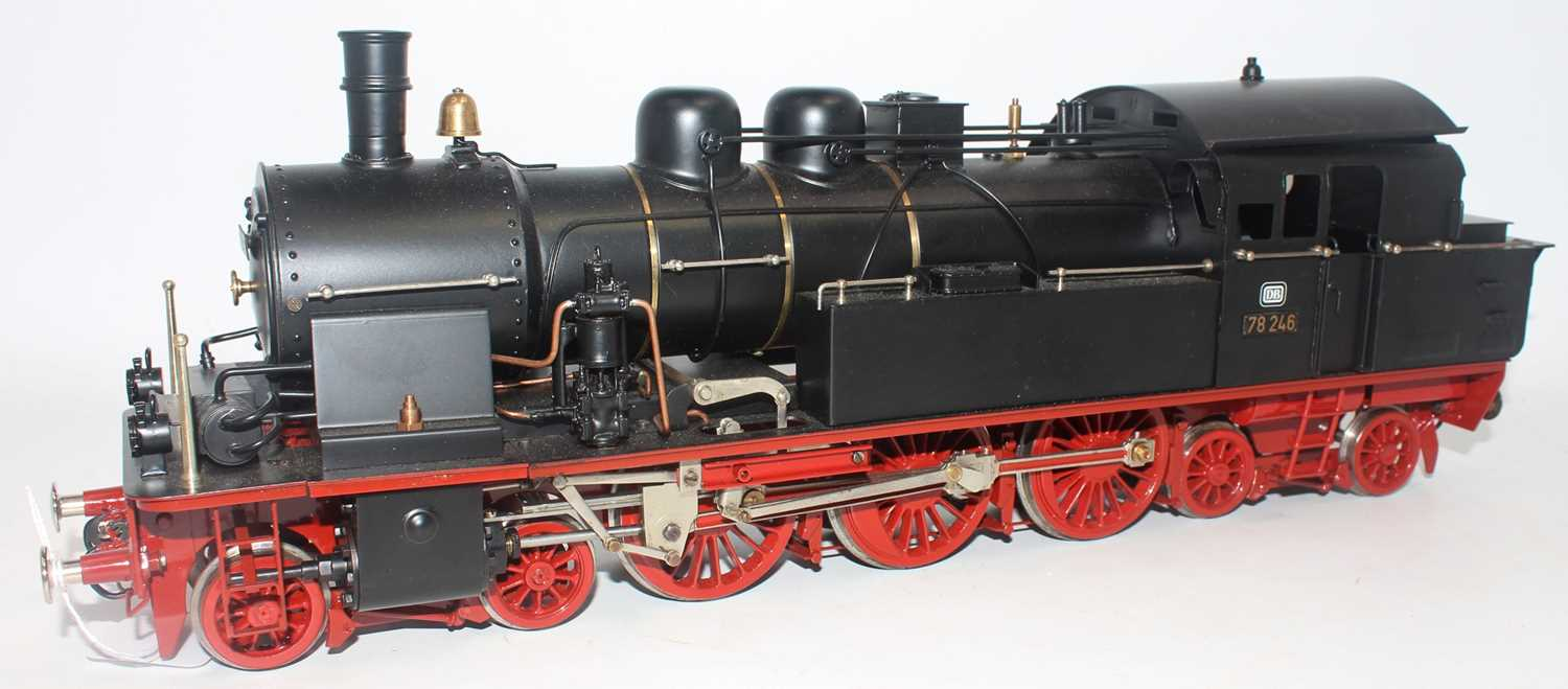 Unidentified make Gauge 1 4-6-4 steam outline model DB78246 powered by electric motor. Body black