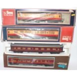 Four Lima bogie coaches:- LMS br/1st; LMS all/1st; two BR red/cream 1st/comp. Overall (VG-E) (BP)