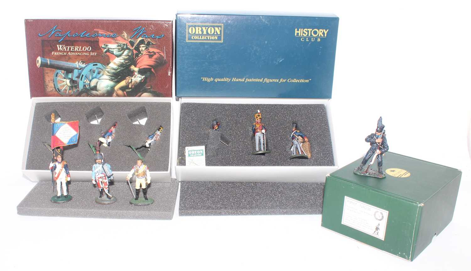 A collection of various Britains, Oryon, Patriot Miniatures, and Del Prado white metal military
