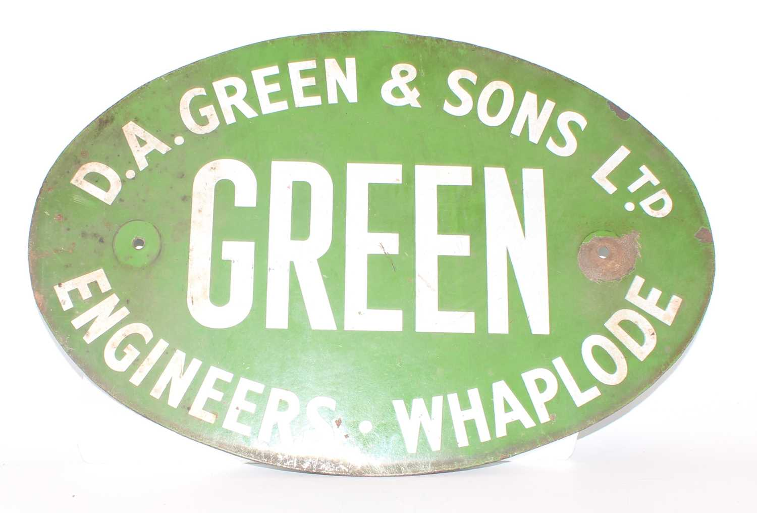 20th century enamel D.A Green and Sons Ltd sign, white on green, oval with 2 fixing holes,