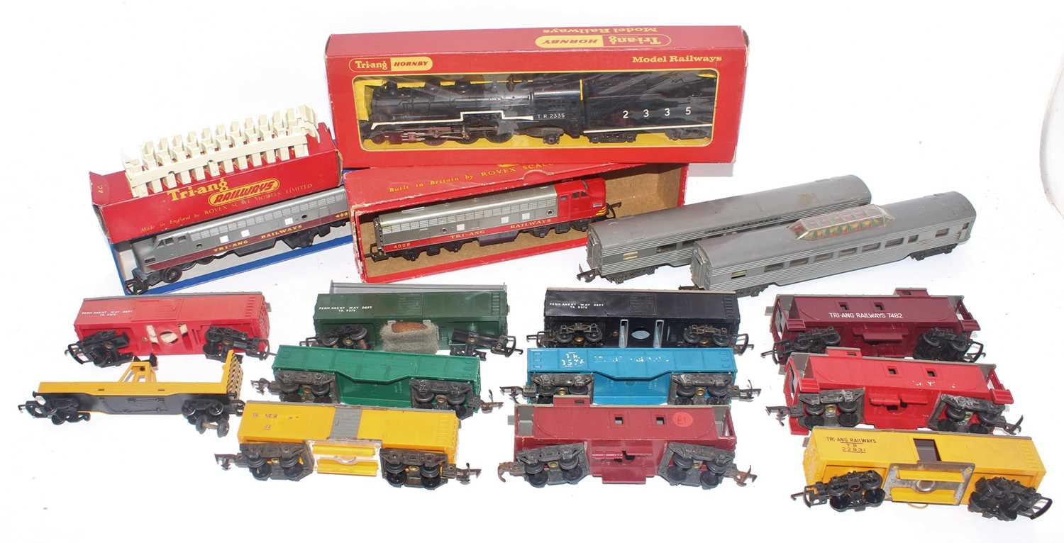 Triang TC items:- Class 23 (Hiawatha) 2335 4-6-2 loco and tender; F7 A-B units - amended; with 2