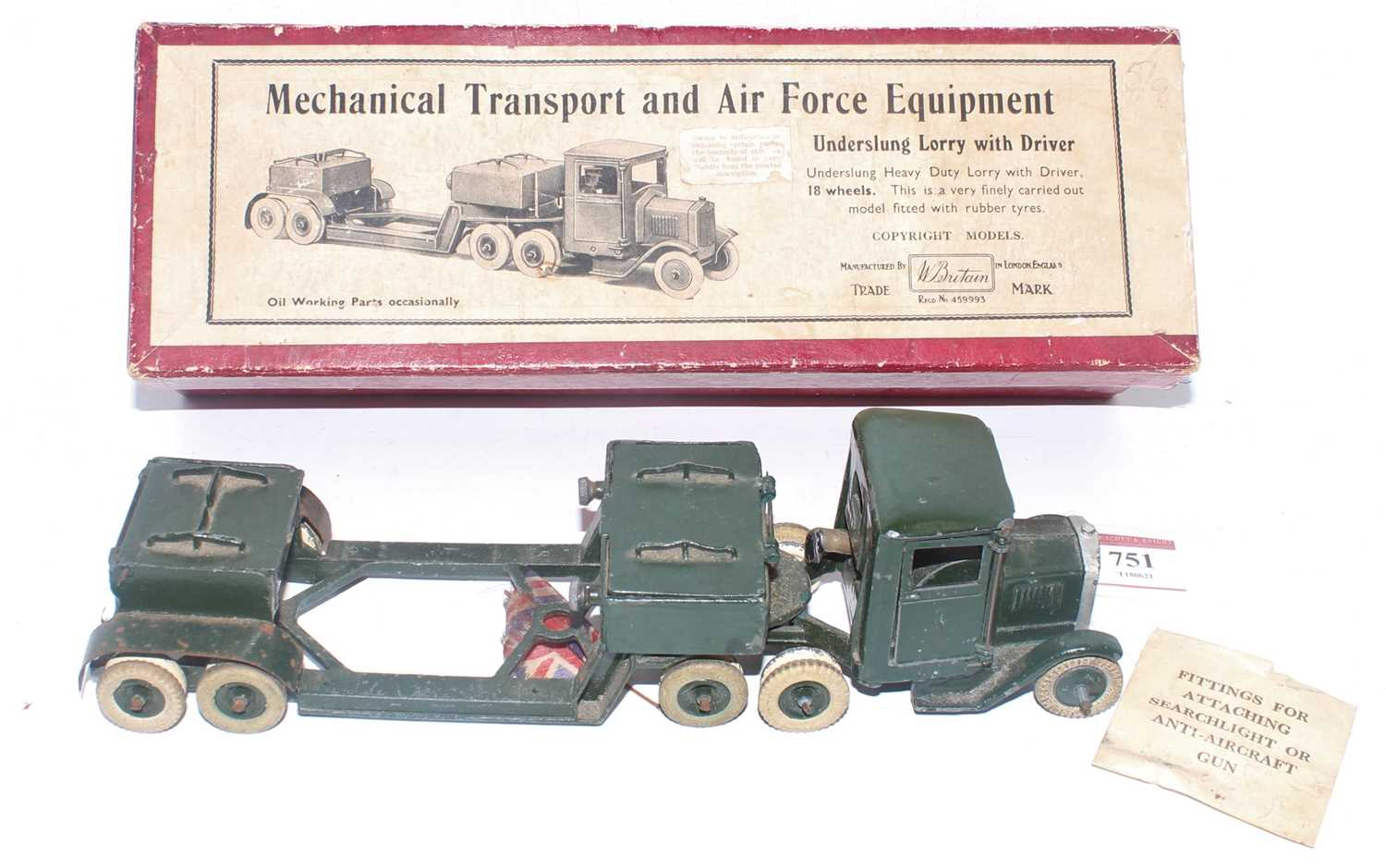 A Britains military series no. 1641 underslung lorry with driver comprising of dark green body - Image 2 of 2