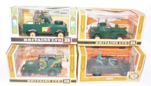 Britains Military Vehicles Group, 4 boxed examples, to include No.9786 US Jeep, No.9783 German