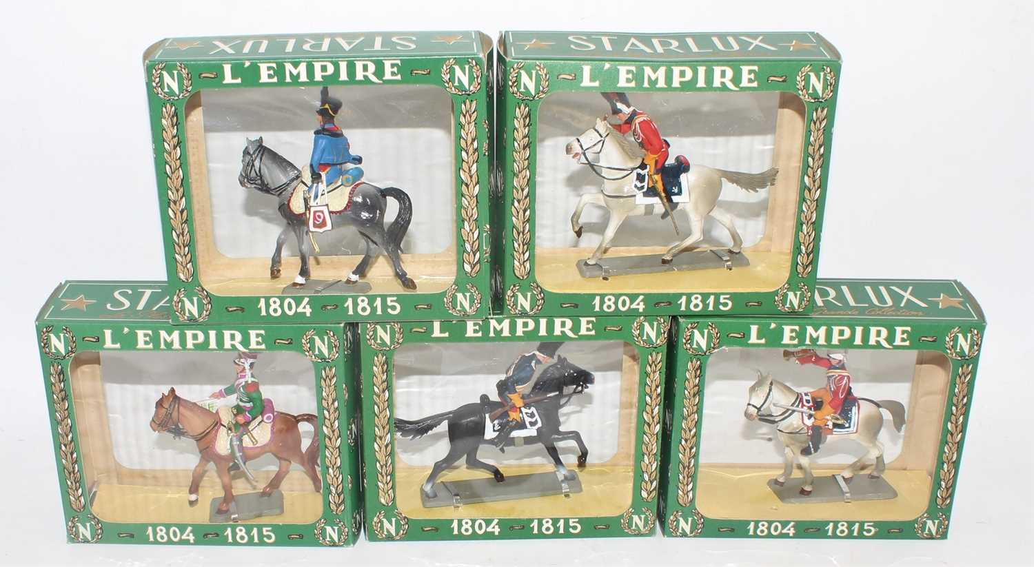 A Starlux Models of France boxed as issued Napoleanic cavalry figure group, five examples all in