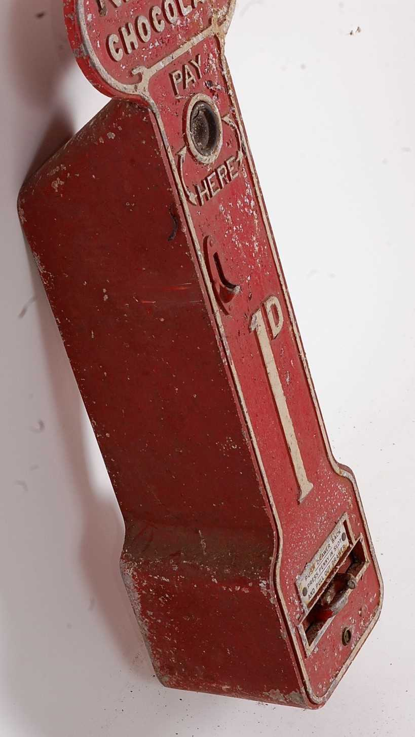 An early 20th century Nestle Chocolate wall-mounted chocolate dispenser, galvanised, coin operated - Image 2 of 4