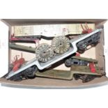 Shoebox containing:- 5 Hornby bogie wagons:- grey/red trolley wagon with BI cables, drums (G),