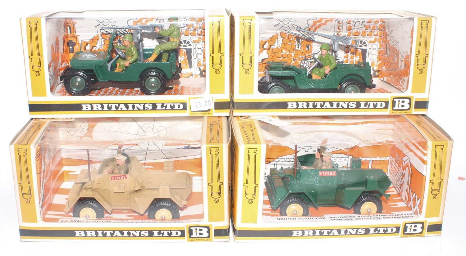 Britains Military Vehicles, 4 boxed examples to include 2x No.9786 US Jeep, No.9781 British Scout