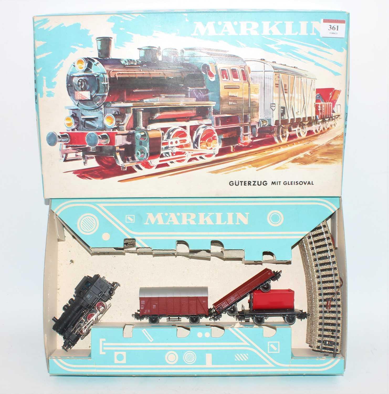 Marklin HO train set ref. 3200 comprising 0-6-0 tank loco, goods van, tipper wagon and 3-plank