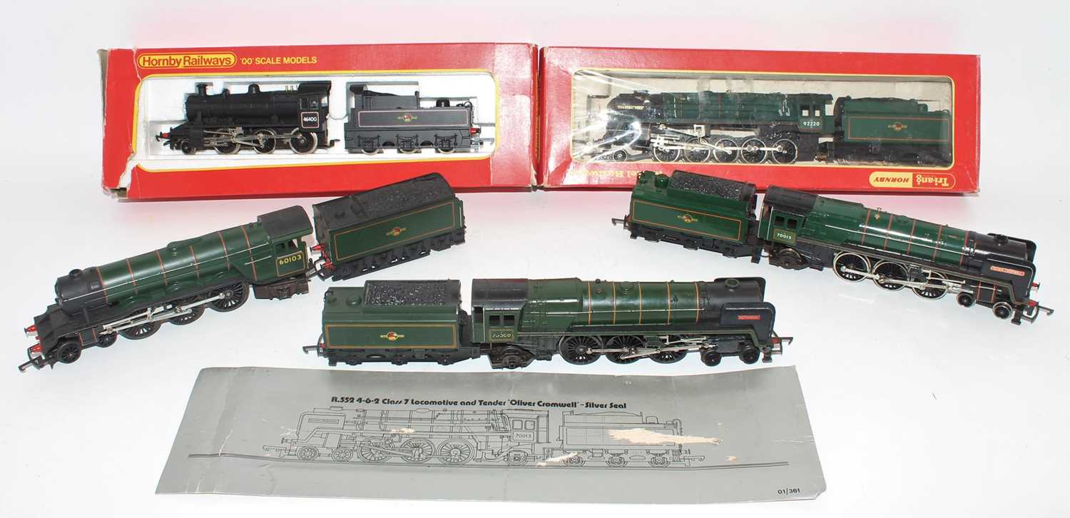 """Five Triang/Hornby locos and tenders:- R857 BR 2-6-0 Ivatt 46400 (E-BP), R861 """"Evening Star"""" BR"""