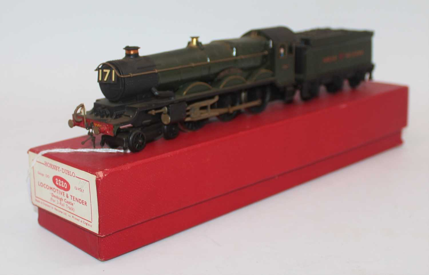 Hornby Dublo 2-rail Castle Class loco and tender totally repainted GW gloss green as 'Great Western'