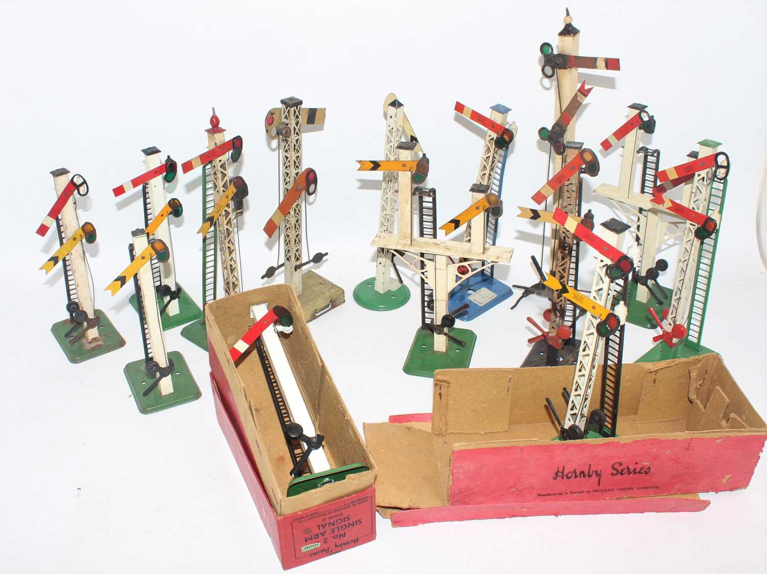 Twelve Hornby (mainly post-war) and 2 other signals, variety of types, condition from (G-E)