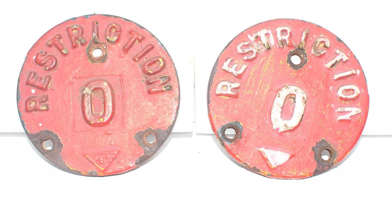 Ransomes Cast Iron Crane Restriction Signs, 2 examples, identical, measurements 11cm diameter