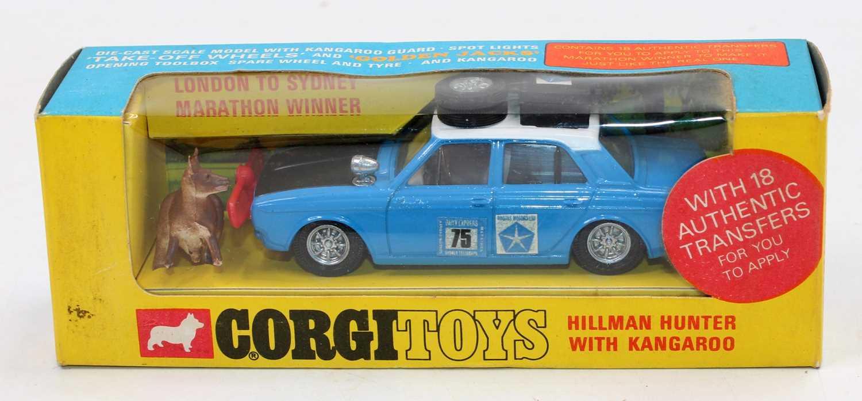 Corgi Toys, 302 Hillman Hunter Rally, blue body with white roof, matt bonnet, RN75, with equipment
