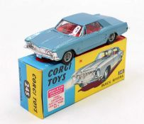 Corgi Toys No. 245 Buick Riviera comprising of metallic blue body with red interior and wirework