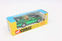"Corgi Toys 300, Chevrolet Corvette Stingray coupe in metallic green with ""Take off wheels"" in mint"