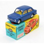 Corgi Toys No. 251 Hillman Imp saloon comprising of metallic blue body with yellow interior, luggage