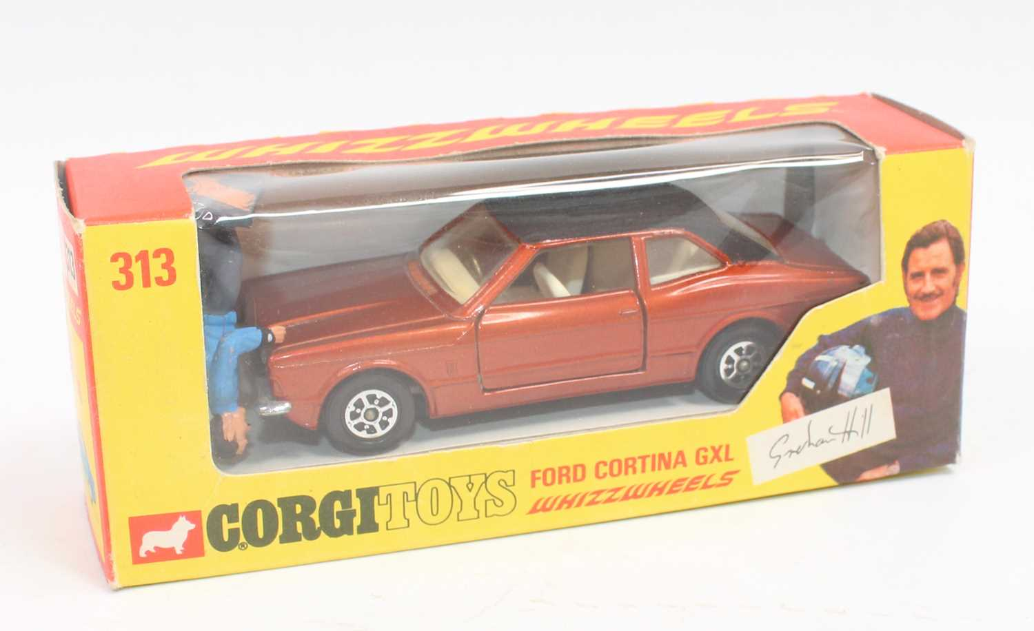 Corgi Toys 313, Ford Cortina in bronze complete with Graham Hill figure in near mint condition - Image 3 of 3