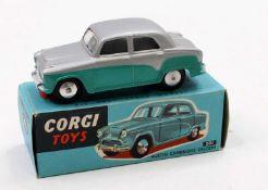 Corgi Toys, 201 Austin Cambridge Saloon, silver and turquoise body with flat spun hubs, in the