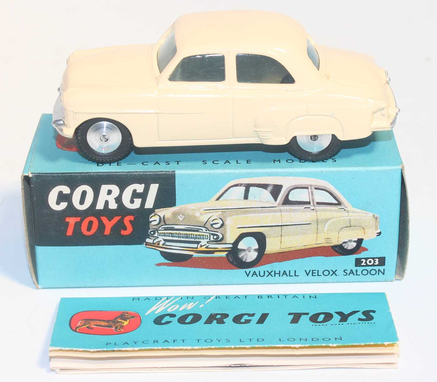 A Corgi Toys No. 203 Vauxhall Velox in cream colour with spun hubs, near mint to mint condition, - Image 3 of 3