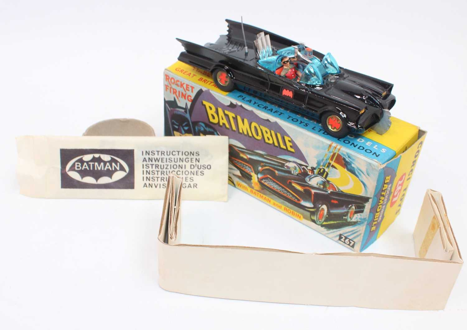 A Corgi Toys 1st issue 267 Batmobile without toe hook in gloss black body 'Bat' logo on doors, - Image 3 of 3