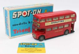 A Spot On Models No.145 London Transport Routemaster bus comprising of red body with black base