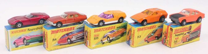 A group of 5 old shop stock Matchbox superfast models in crisp boxes as follows: No. 51 Citroen sm
