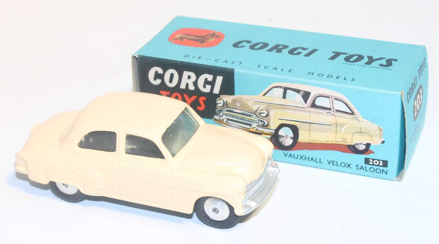 A Corgi Toys No. 203 Vauxhall Velox in cream colour with spun hubs, near mint to mint condition, - Image 2 of 3