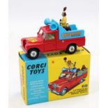 Corgi Toys, 487 Chipperfields Parade Vehicle, red body with light blue back, with chimpanzee and