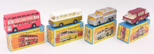 A group of 4 old shop stock Matchbox superfast models in crisp boxes as follows: No.12 Setra Coach