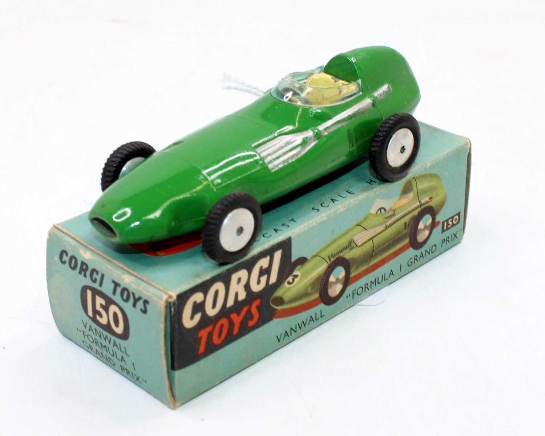 Corgi Toys No. 150 Vanwall F1 Grand Prix racing car, green and silver body, in the original blue