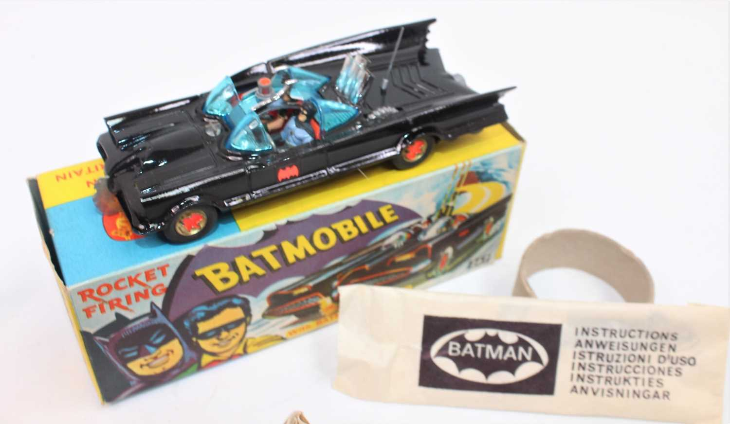 A Corgi Toys 1st issue 267 Batmobile without toe hook in gloss black body 'Bat' logo on doors, - Image 2 of 3