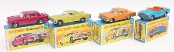 A group of 4 old shop stock Matchbox superfast models in crisp boxes as follows: No.24 Rolls Royce