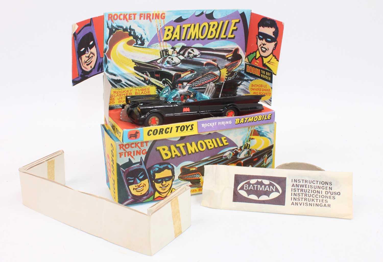 A Corgi Toys 1st issue 267 Batmobile without toe hook in gloss black body 'Bat' logo on doors,