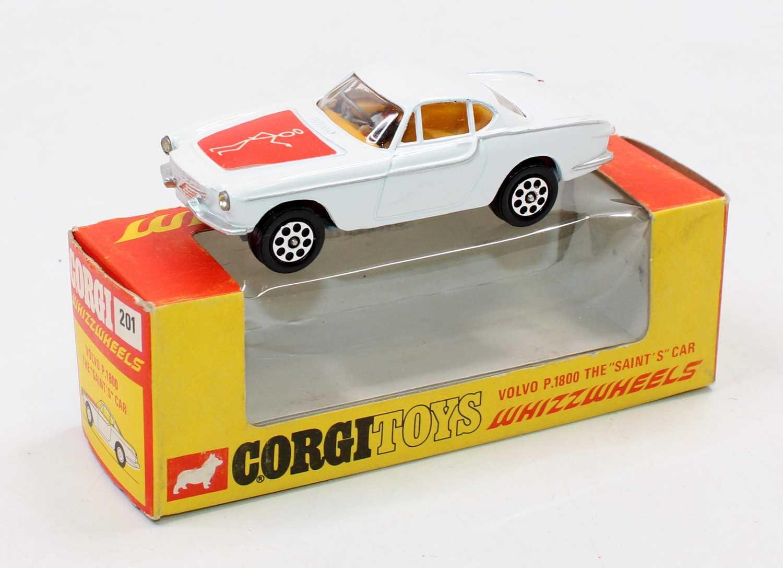 Corgi Toys, 201, The Saints Volvo, white body, yellow interior, white saint logo on red label,