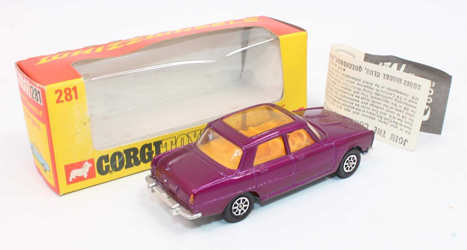 Corgi Toys 281, Rover 2000TC in purple with whizzwheels, mint condition complete with Corgi club - Image 2 of 3