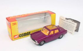 Corgi Toys 281, Rover 2000TC in purple with whizzwheels, mint condition complete with Corgi club