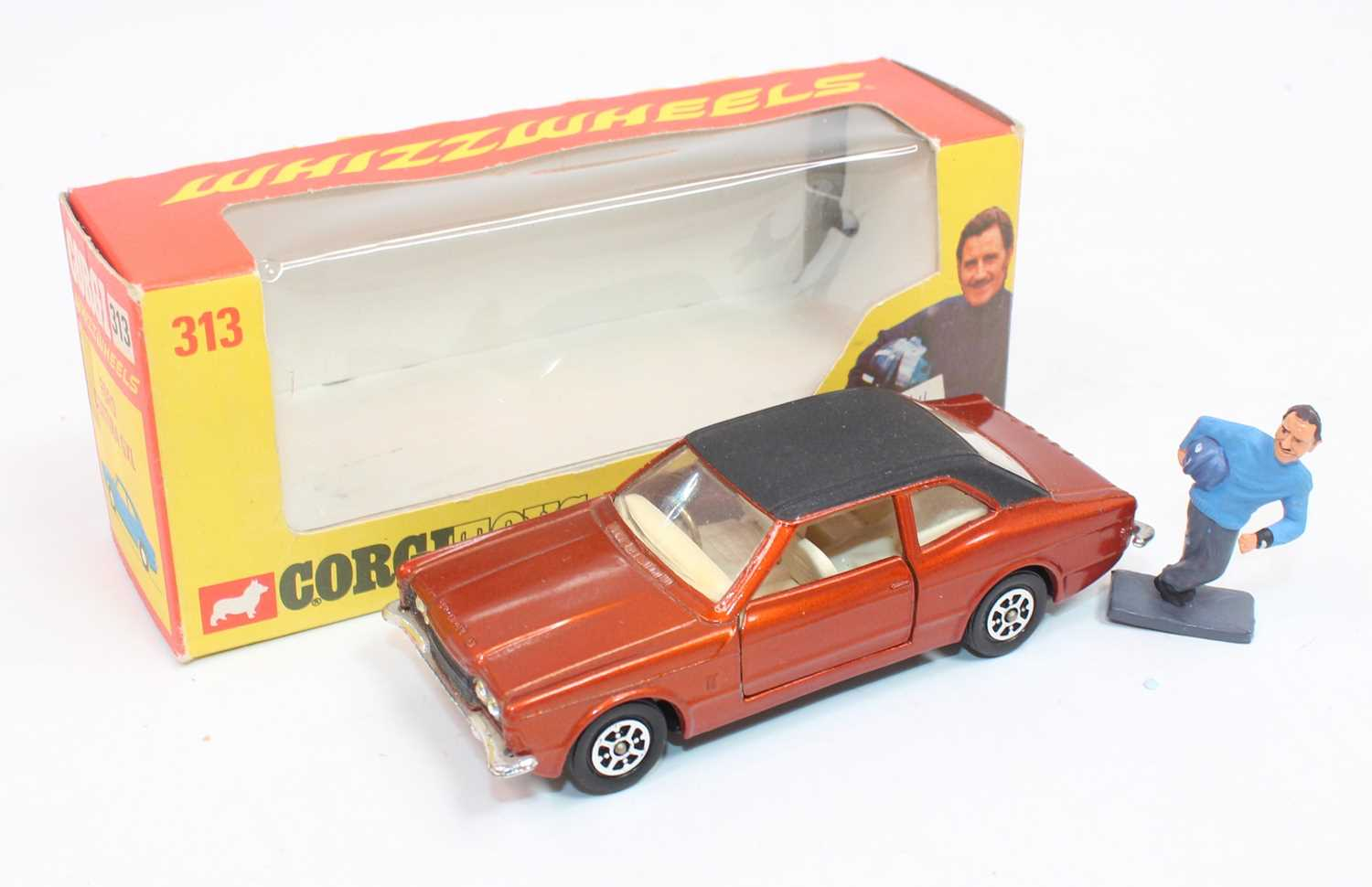 Corgi Toys 313, Ford Cortina in bronze complete with Graham Hill figure in near mint condition