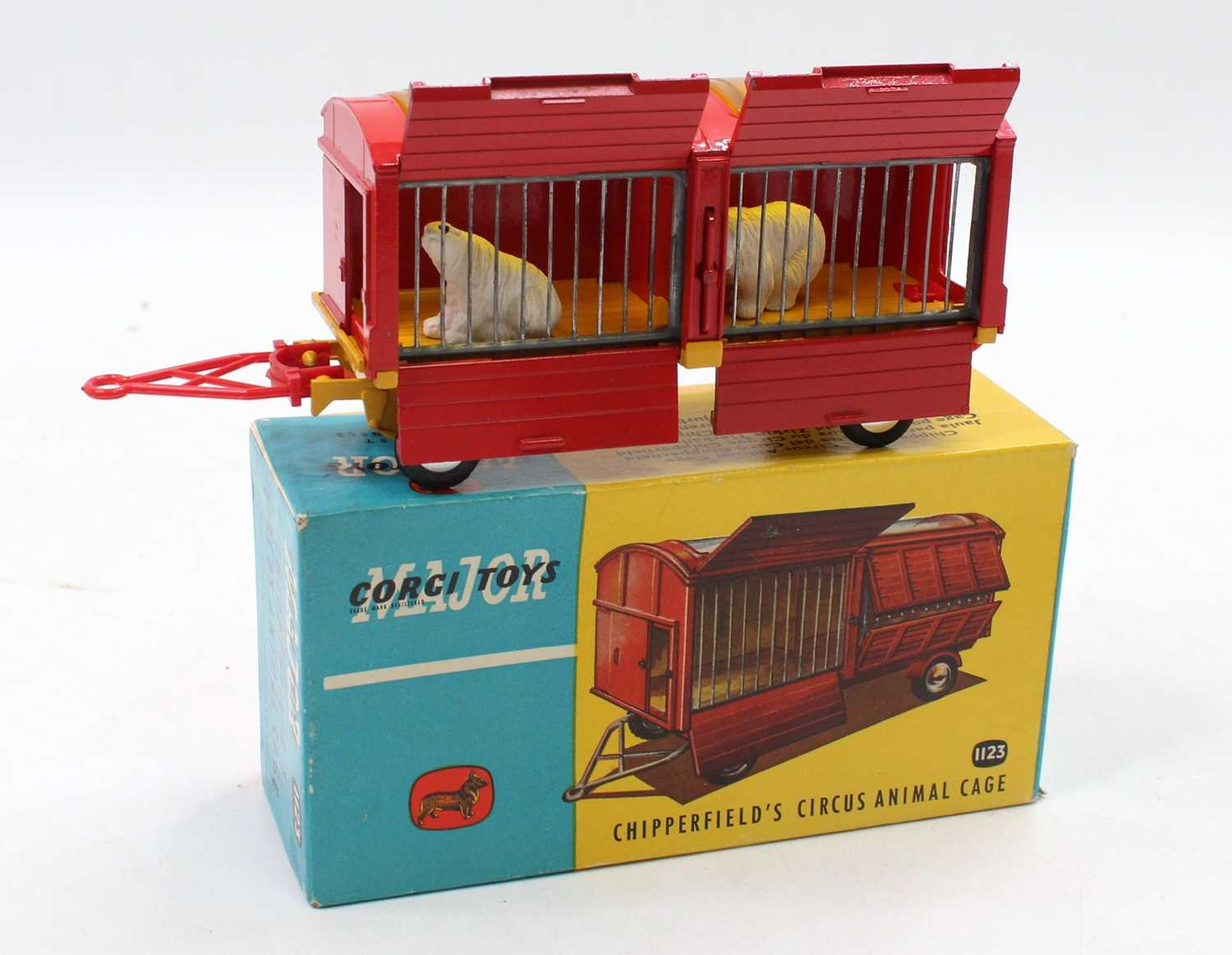 Corgi Toys No. 1123 Chipperfields Circus animal cage comprising of red and yellow body with flat