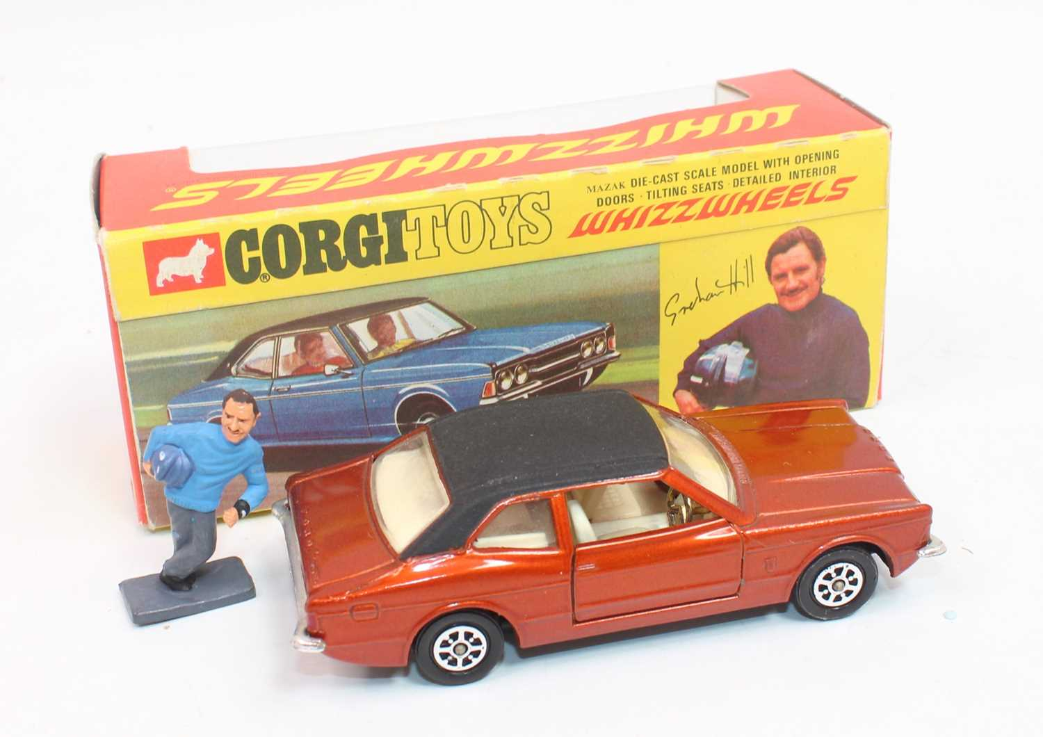 Corgi Toys 313, Ford Cortina in bronze complete with Graham Hill figure in near mint condition - Image 2 of 3