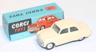 A Corgi Toys No. 203 Vauxhall Velox in cream colour with spun hubs, near mint to mint condition,