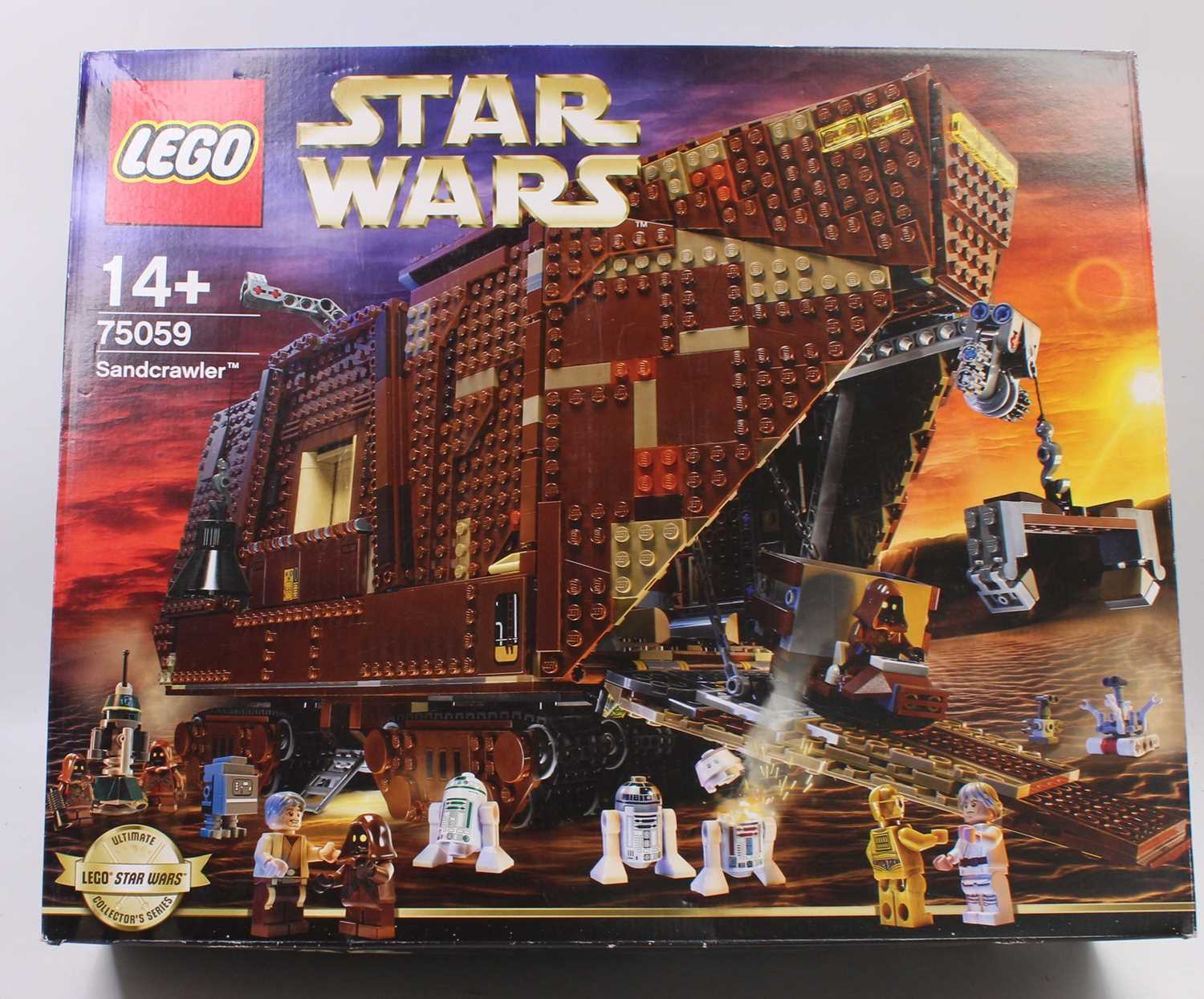 A Lego No. 75059 boxed Sandcrawler Lego construction kit housed in the original box, box has been