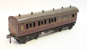 1921 series Bing for Bassett-Lowke bogie coach GWR 133 Lake BR/3rd, slight crazing to sides, but not