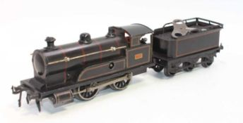 Bing 0-4-0 clockwork loco and tender no. 3768 circa 1912 black with red/yellow lining, 6-wheel