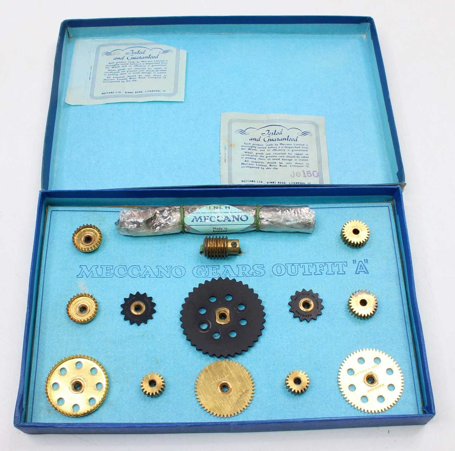 A Meccano 1950s gears outfit A, as new and housed in the original blue ground labelled card box, - Image 2 of 2