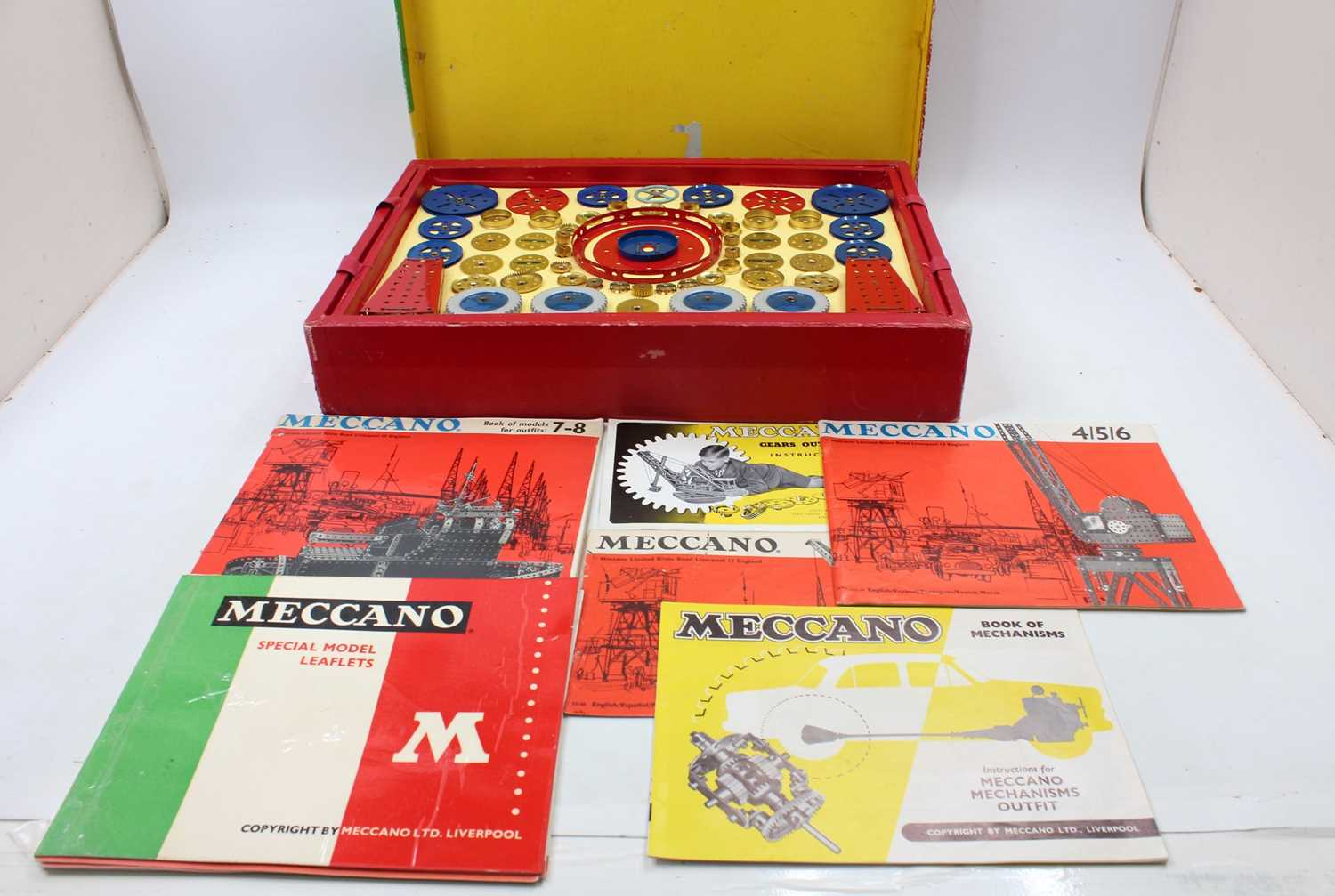 A Meccano No.9 construction set, housed in the original box with various instruction leaflets,