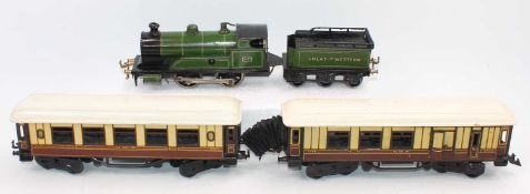 Bing Clockwork No.3410 Great Western 0-4-0 locomotive and tender, finished in green with 6-wheel