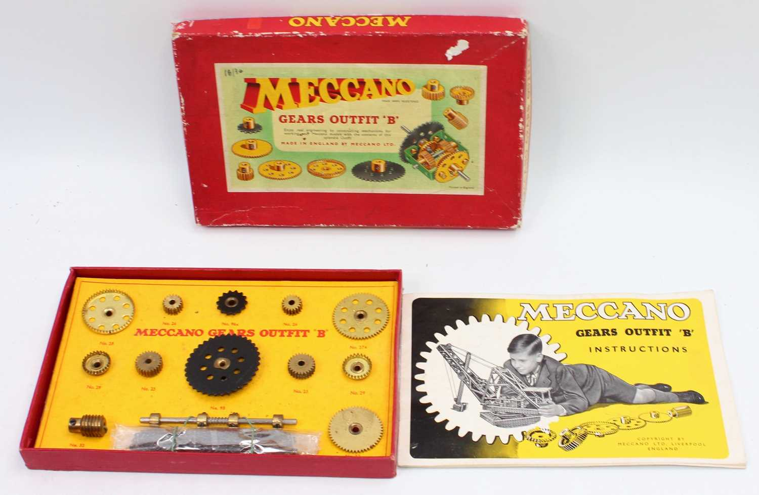 Two Meccano 1950s/60s gears outfit B box sets, both in original boxes with leaflets, both appear