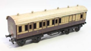 1921 Series Bing for Bassett-Lowke bogie coach LNWR 1921 brown and cream BR/2nd roof crazed, will