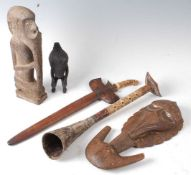 * A collection of five South East Asian tribal items to include a Papua New Guinean meat hook with